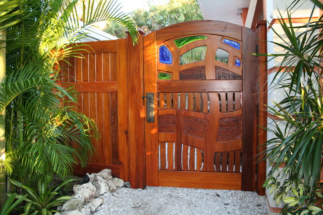 Old Growth Cypress Garden Gate With Fused Glass Eclectic Landscape