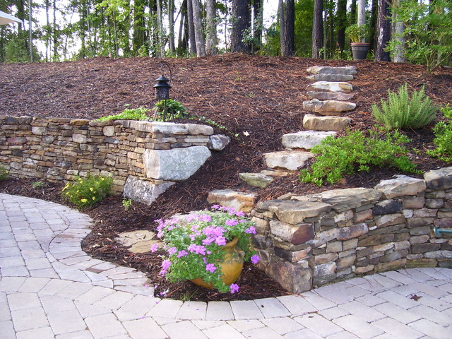 Old world retaining wall and patio eclectic landscape for Garden wall designs