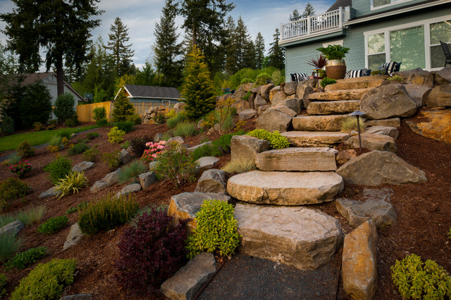 Olsen property traditional landscape portland by for Hillside rock garden designs