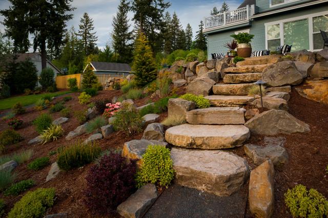 Paradise restored landscaping exterior design · landscape architects designers olsen property traditional garden
