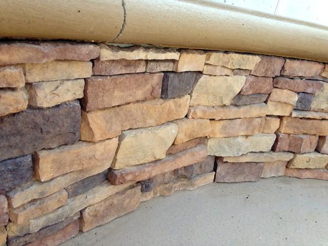 Orange county stacked stone wall craftsman landscape for Landscaping rocks orange county