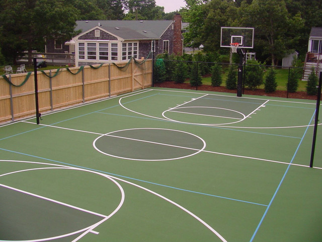 Other courts basketball volleyball bocce traditional for Basketball court construction cost