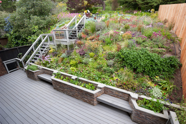 Outdoor Deck And Garden Traditional Landscape San
