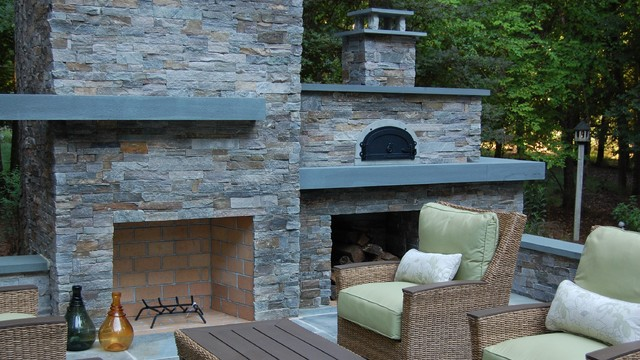 outdoor fireplace pizza oven modern landscape raleigh by landvision designs inc. Black Bedroom Furniture Sets. Home Design Ideas