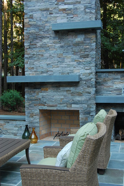 Outdoor fireplace pizza oven modern landscape raleigh by landvision designs inc