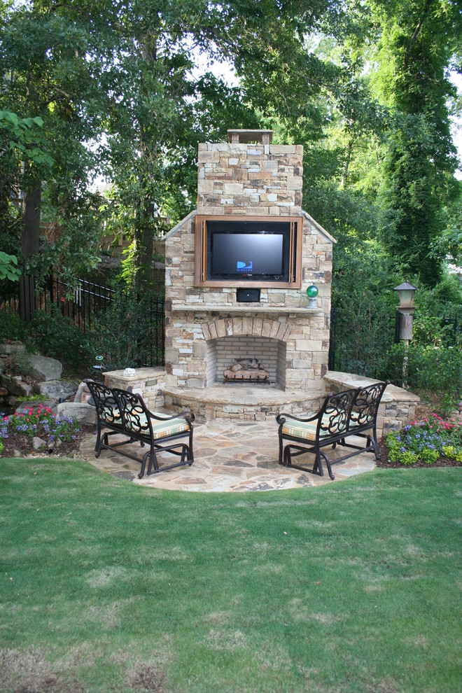 Outdoor Fireplace With Built In Tv, Outdoor Patio With Fireplace And Tv