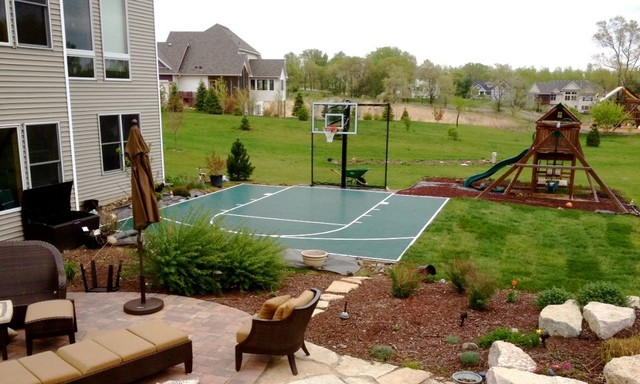 Outdoor game courts for all sports in small backyard space for Backyard sport court ideas