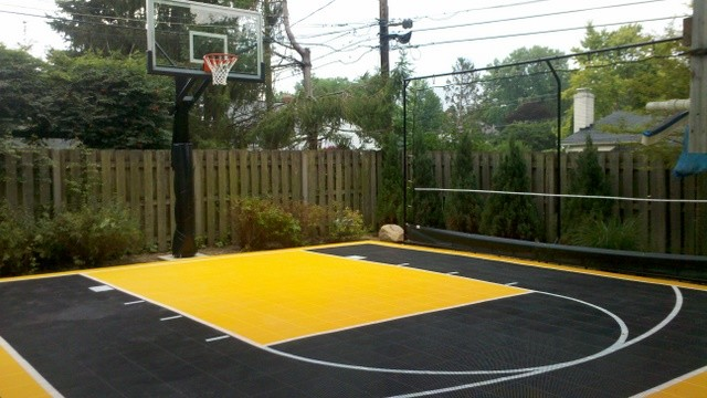 Outdoor Half Court Basketball - Traditional - Landscape ...