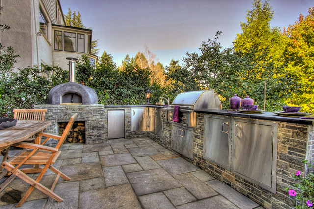outdoor kitchen pizza oven mediterranean landscape