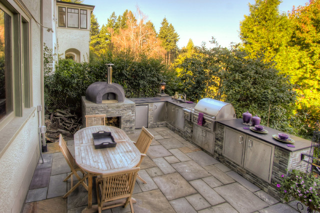 Outdoor kitchen pizza oven mediterranean landscape portland by paradise restored - Outdoor kitchen designs with pizza oven ...