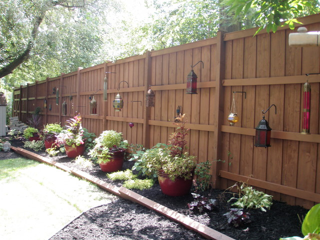 outdoor landscape backyard fence traditional landscape