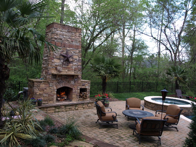 Outdoor Living Stone Fireplace And Jacuzzi