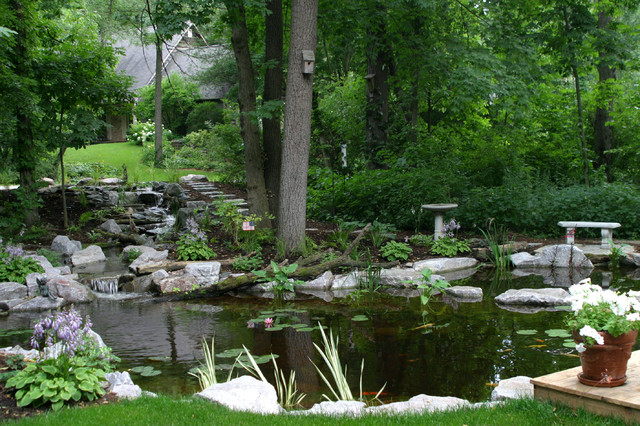 Outdoor Living with Water Gardens traditional-landscape