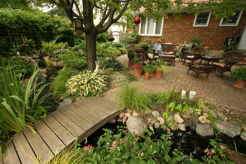 Outdoor Living with Water Gardens traditional landscape