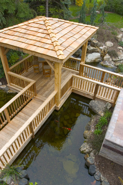 Outdoor Living with Water Gardens rustic-landscape