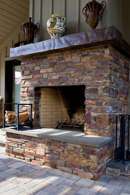 Outdoor Masonry Fireplace Traditional Landscape San