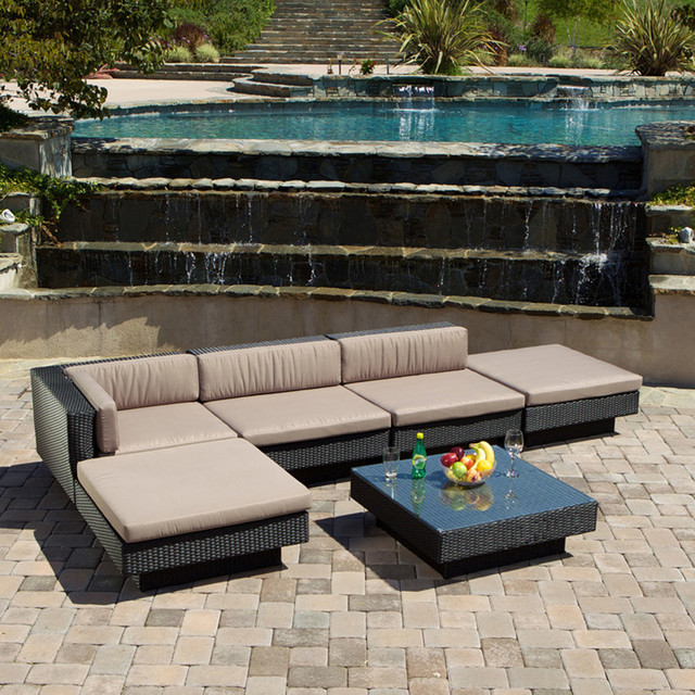 Outdoor Patio Furniture 6pcs Wicker Luxury Sectional Sofa Seating Set  Modern Landscape
