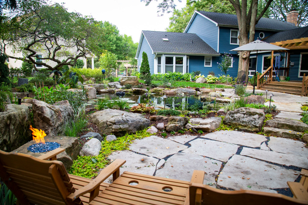 Outdoor Pond with Natural Stone Fire Pit