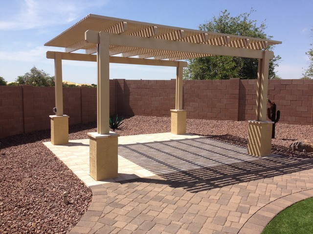 This is an example of a concrete paver landscaping in Phoenix. - Outdoor Putting Green In Arizona Backyard-Mesa-McKeeman Project
