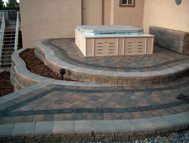 Landscape Block Wall Systems : Outdoor raised patios and landings landscape other