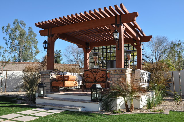 Outdoor Seating Area/Arbor Structure Landscape