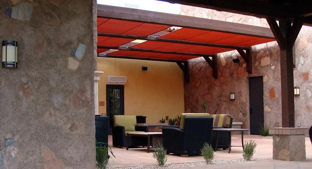 Outdoor shade panels by Tenshon, LLC mediterranean-landscape