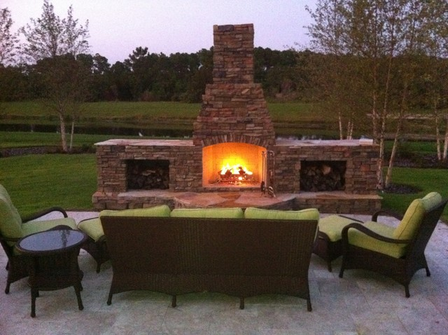 Outdoor Stacked Stone Fireplace Traditional Landscape