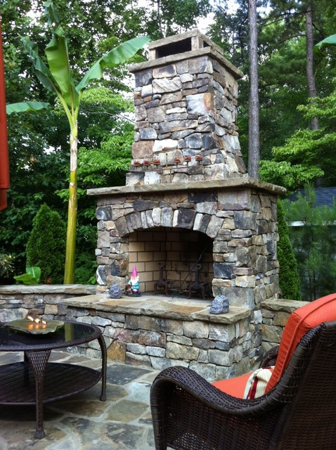 Outdoor Stone Fireplace Kit Traditional Garden