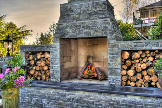 Outdoor wood fireplace traditional garden portland for Outdoor fireplace portland oregon