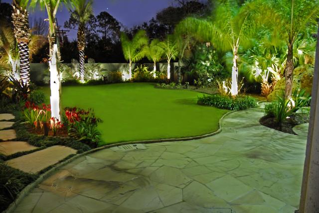Palm Garden Lighting Tropical Landscape Pictures