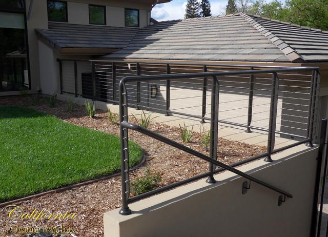Palo alto ca exterior iron cable railing traditional - Houzz palo alto ca ...