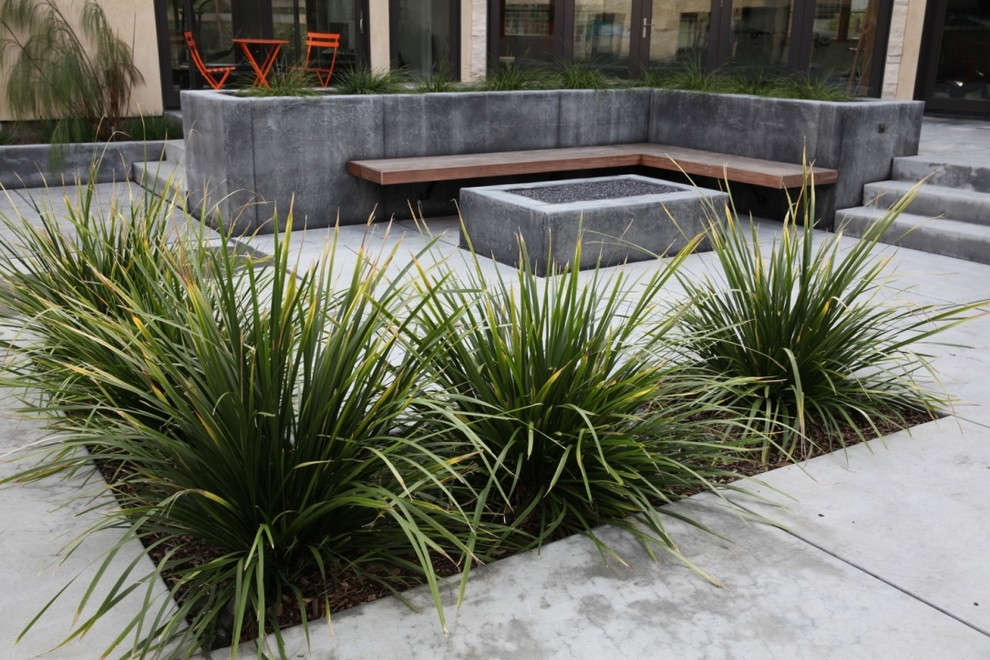 Photo of a large contemporary drought-tolerant and full sun backyard gravel water fountain landscape in San Francisco for spring.