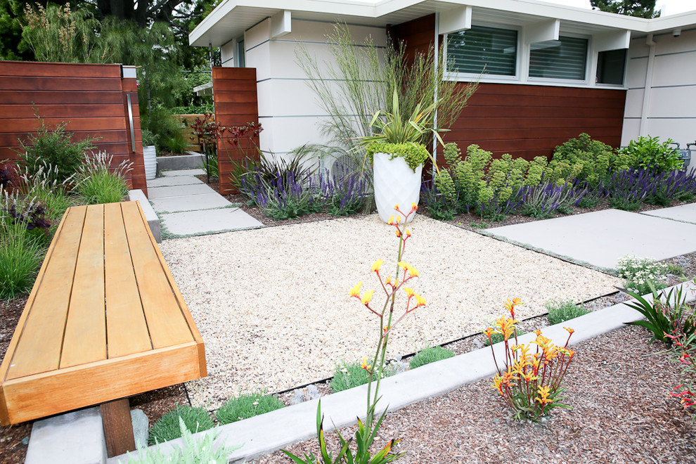 Inspiration for a mid-sized mid-century modern drought-tolerant and full sun front yard concrete paver garden path in San Francisco.