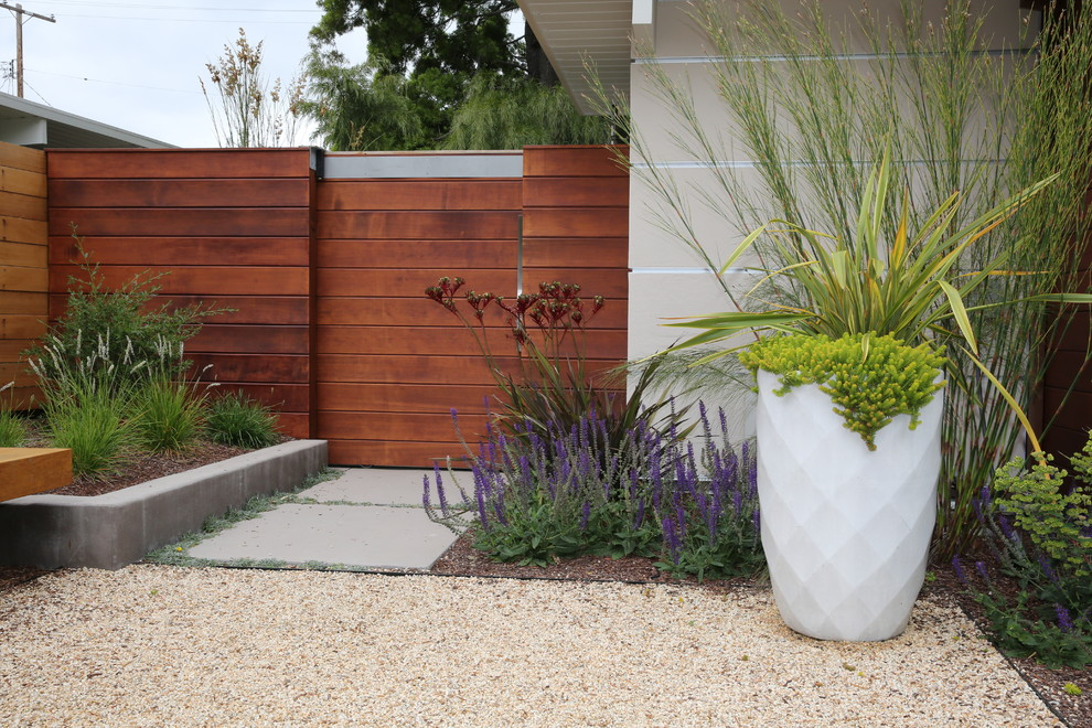 Inspiration for a mid-sized mid-century modern drought-tolerant and full sun front yard gravel landscaping in San Francisco.