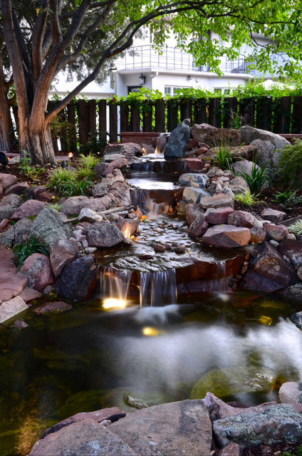 Park hill backyard water feature traditional landscape Backyard water features