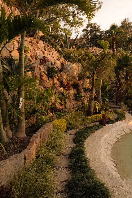 Path and Pond in Mexican Regional Garden traditional-landscape