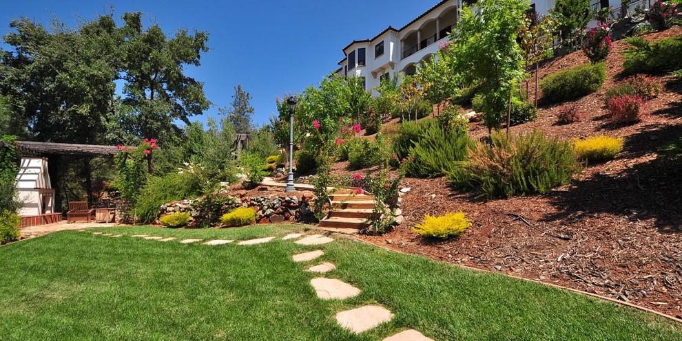 Inspiration for a contemporary full sun hillside landscaping in Sacramento.