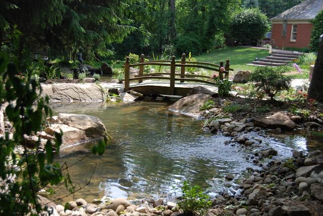 Patio gazebo pond stream waterfall bridge garden for Pond stream design