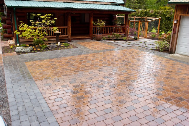 Paved parking courtyard rustic landscape other metro for Paved courtyard garden ideas