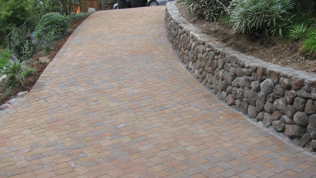 Paver Driveway and Stack Retaining Wall in Mill Valley CA