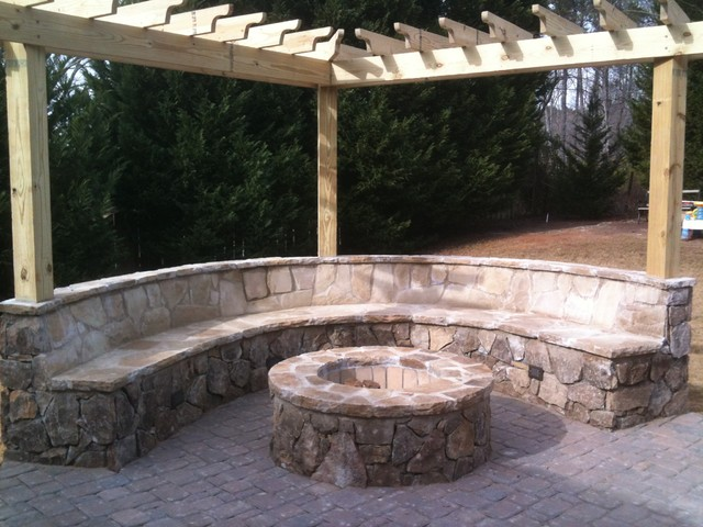 Paver Patio/Flagstone Firepit Installation Traditional Landscape