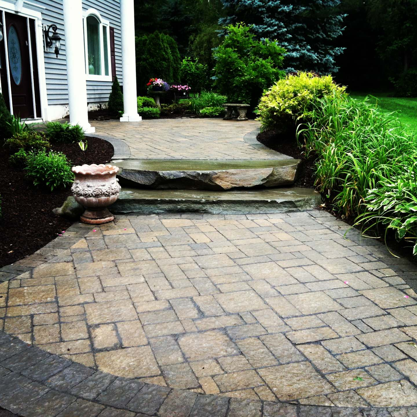 paver walkway with natural fieldstone steps