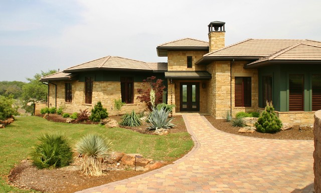Paverstone driveway with modern landscape entry traditional-landscape