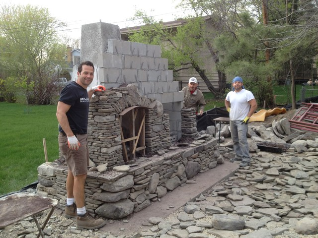 Pennsylvania Bluestone And Maple Creek Flats Outdoor Fireplace In Edina  Traditional Landscape