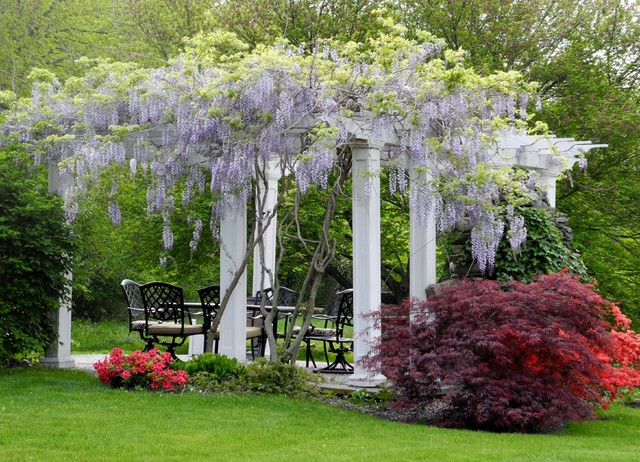 Pergola in spring traditional landscape boston by for Kimberly hall creative interior design
