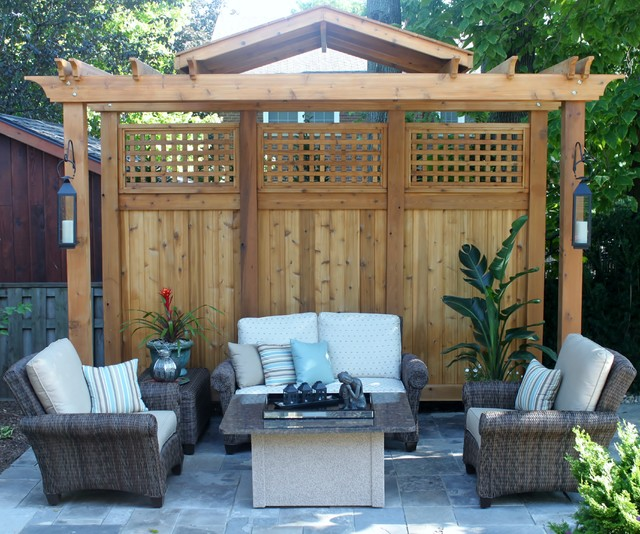 pergola privacy screen contemporary landscape