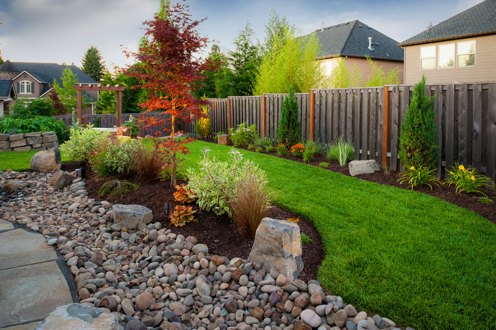 Design ideas for a traditional rock river rock landscaping in Portland.