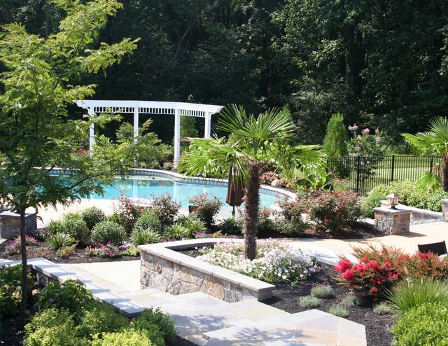 Plantings surrounding pool tropical-landscape