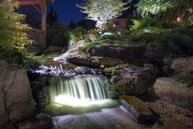 Pond and landscape led lighting tropical landscape for Garden pond lights
