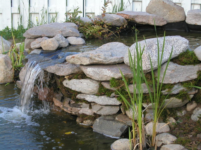 Pond waterfall and wall waterfall with flagstones rustic for Ornamental pond waterfall